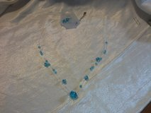 NEW BLUE CRYSTAL CLEAR BEAD SILVER EXTENDED CHAIN & EARRINGS SET.. in Quantico, Virginia