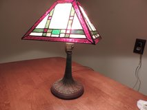 Antique stained glass Library Light with cast bronze base in Lockport, Illinois