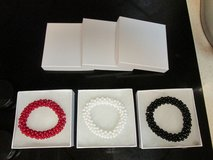 3 Identical Beaded Stretch Bracelets - Red - White - Black - Gift Boxed in Houston, Texas
