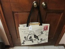 French-Themed Tote w/Shoulder Straps & Wooden Handles  - New w/Tag in Kingwood, Texas