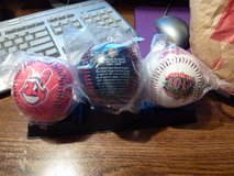 set of 3 (red, wht, blue) Cleveland Indians 2001 100 yr anni. baseballs, Still in sealed pkgs. in Alamogordo, New Mexico
